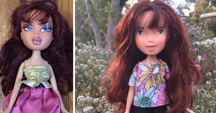Девушка преображает кукол, смывая косметику и делая естественный макияж