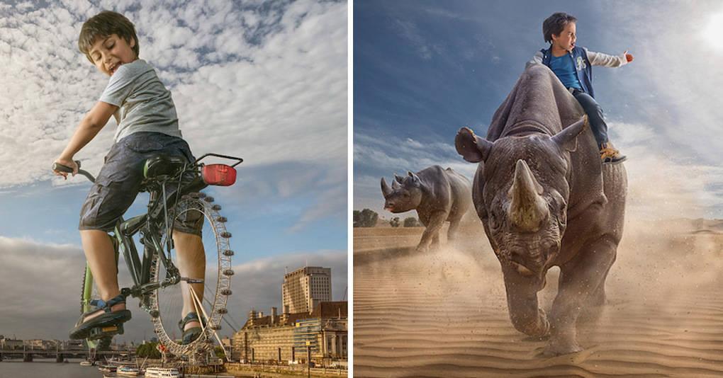 Отец создает фотографии фантастических приключений своего сына
