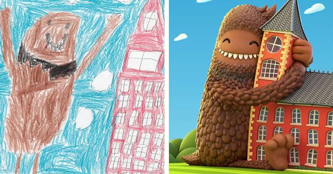 Художники перерисовывая детские рисунки, помогают детям поверить в себя