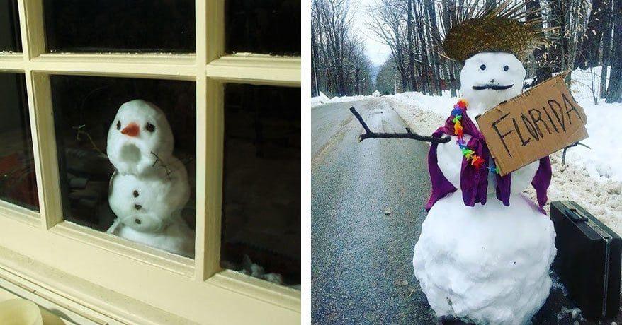 25 самых уморительных и креативных снеговиков, мимо которых сложно пройти