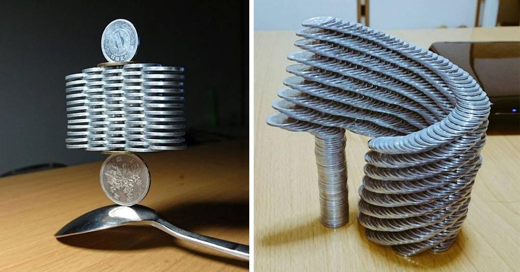 Японец делает невероятные инсталляции из монет, которые, кажется, не подчиняются законам физики