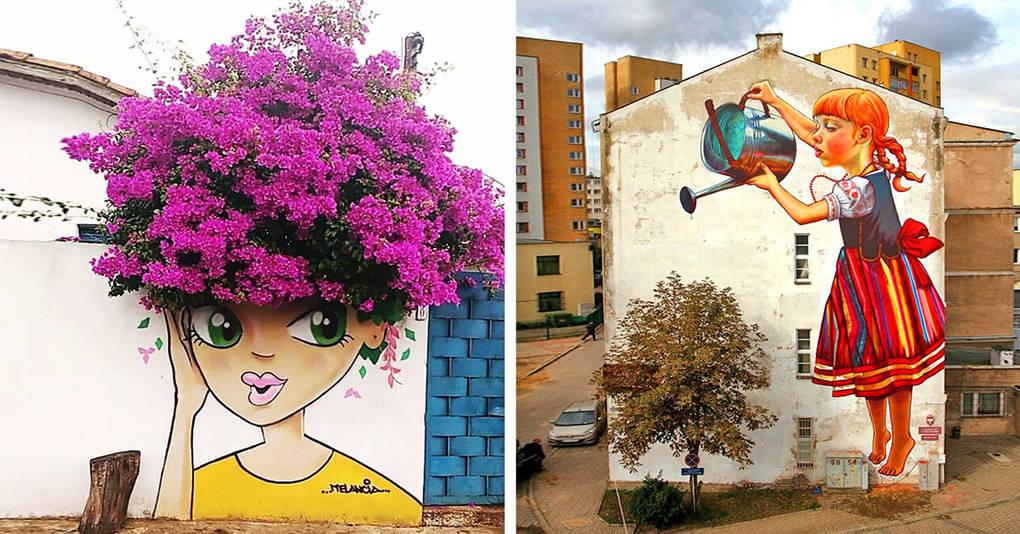 25 гениальных примеров уличного искусства, совмещенного с природой