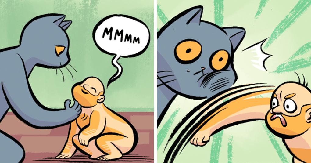 20 забавнейших комиксов о том, что будет, если человека и кота поменять ролями