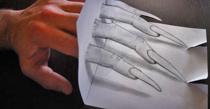 Художник создает реалистичные 3D рисунки при помощи карандаша и бумаги