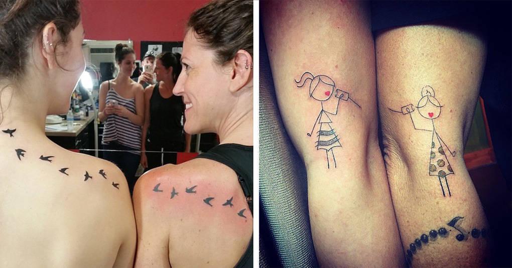 15 парных татуировок дочерей и матерей, символизирующих их особую взаимосвязь