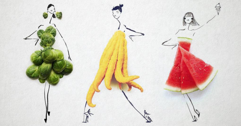 Фэшн-иллюстратор создает поразительные эскизы женских нарядов из привычных нам продуктов