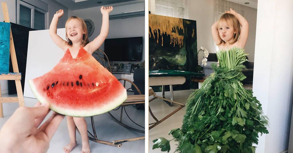 Мама одевает дочку в «платья» из цветов, фруктов и овощей, и она уже стала звездой инстаграма