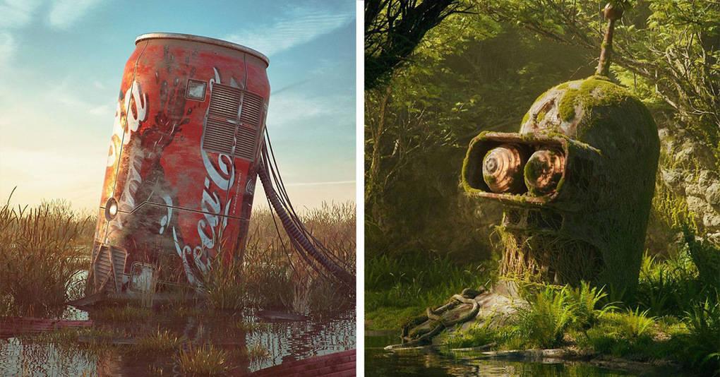 Объекты популярной культуры, пережившие апокалипсис, в работах талантливого художника