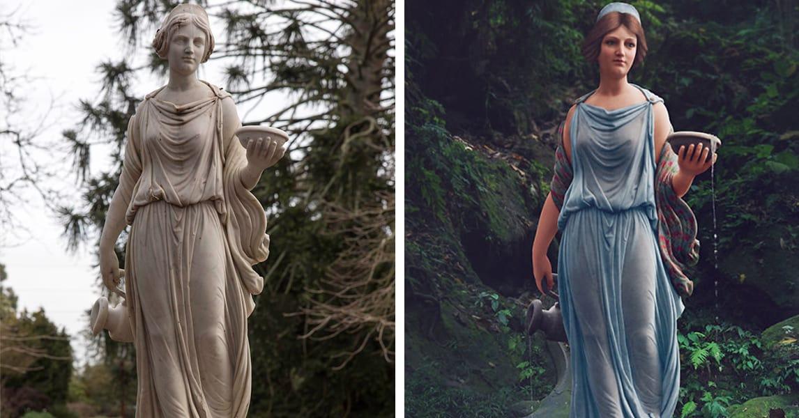 Художница раскрашивает классические статуи, придавая им новый облик с помощью современных технологий