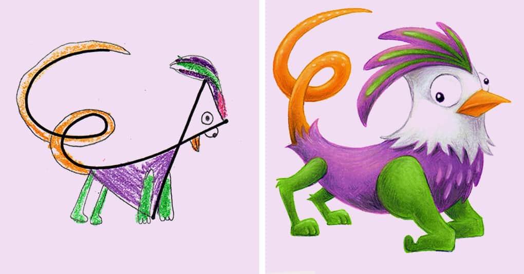 20 детских рисунков, превращённых профессиональным иллюстратором в мультяшные шедевры