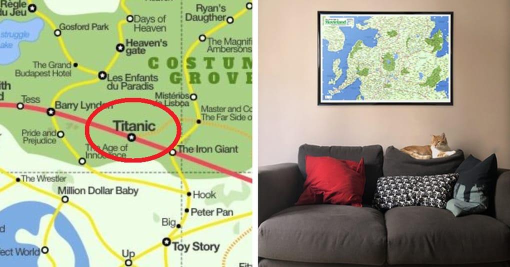 Художник создал карту, необходимую каждому кинолюбителю, и взглянув на неё, вы захотите себе такую же