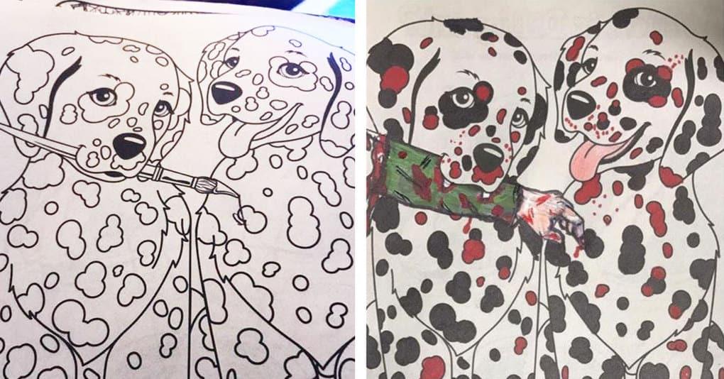 15 фотографий, демонстрирующих, что бывает, когда детские раскраски попадают не в те руки