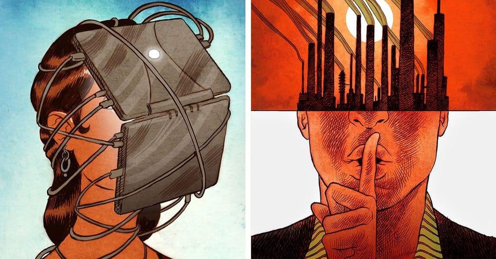 20 остросоциальных иллюстраций, которые отражают всю суть современного общества