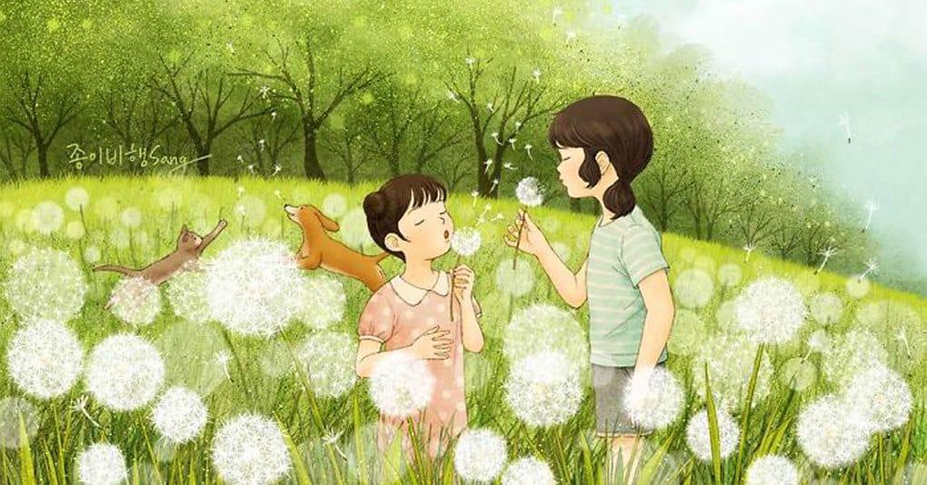 25 тёплых иллюстраций корейского художника о нежной и трепетной любви двух сестёр