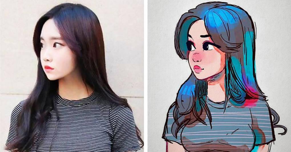 Художник превращает незнакомых девушек в очаровательных мультяшек, и результаты придутся вам по душе