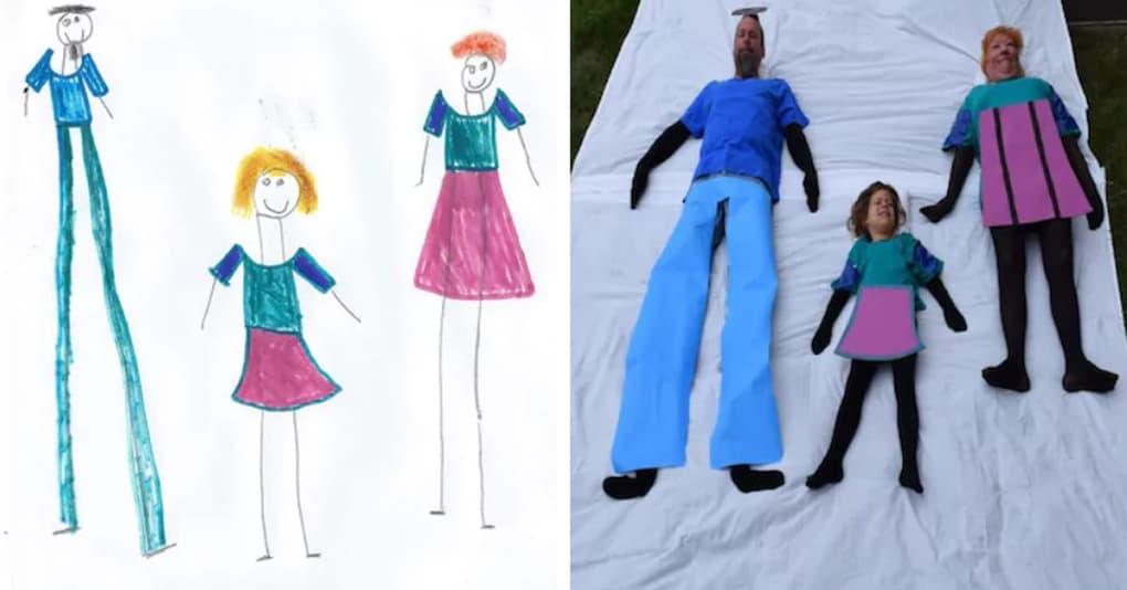 Несколько семей решили воссоздать рисунки своих детей на фотографиях, и получилось очень весело