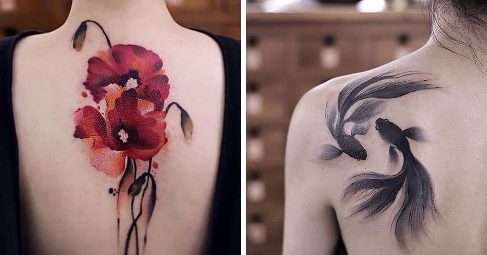 Китайская художница, вдохновлённая древней живописью, создаёт акварельные татуировки, в которые сложно не влюбиться