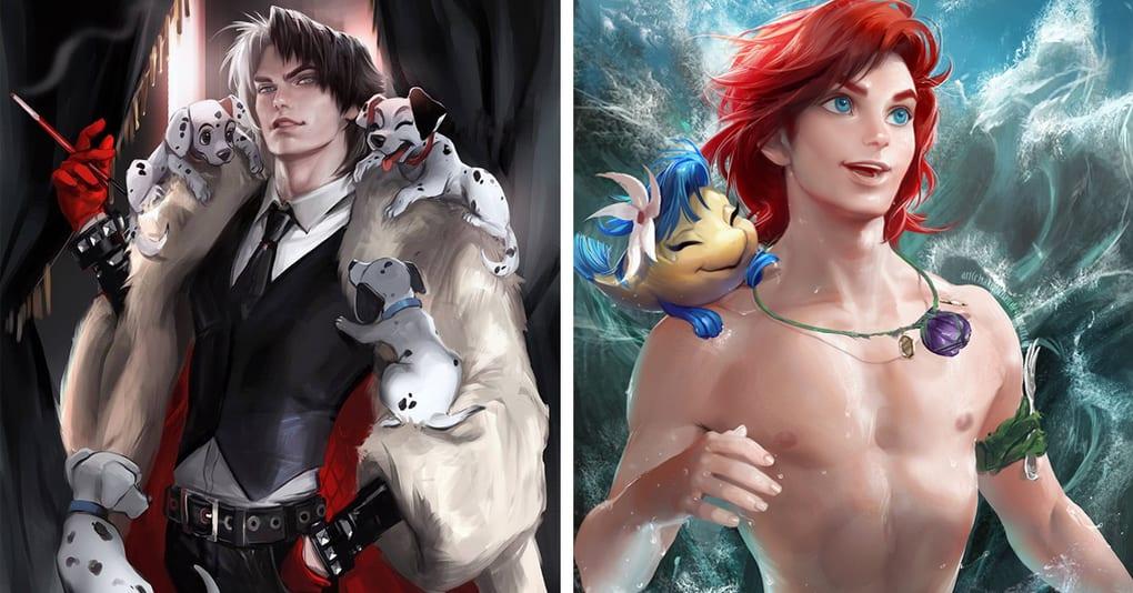 Художница изобразила известных мультяшных героинь в виде красавчиков-парней, и выглядят они покруче оригинала