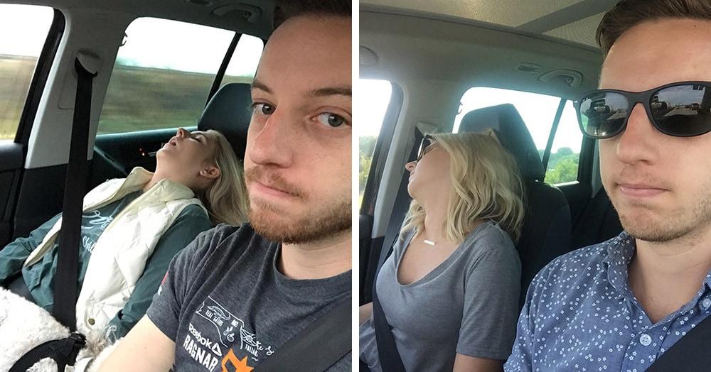 Жена этого парня всегда вырубается в поездках, и он решил сделать «весёлую» фотосессию их дорожных приключений