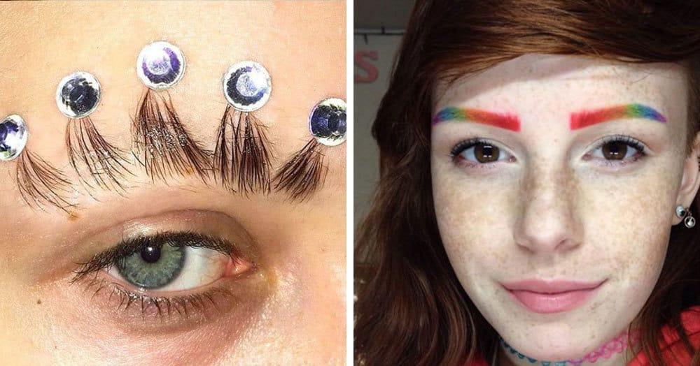 16 странных трендов в макияже бровей, которые всполошили интернет в уходящем году