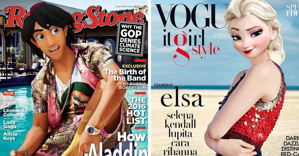 15 примеров того, как могли бы выглядеть диснеевские персонажи, попади они на обложки глянцевых журналов