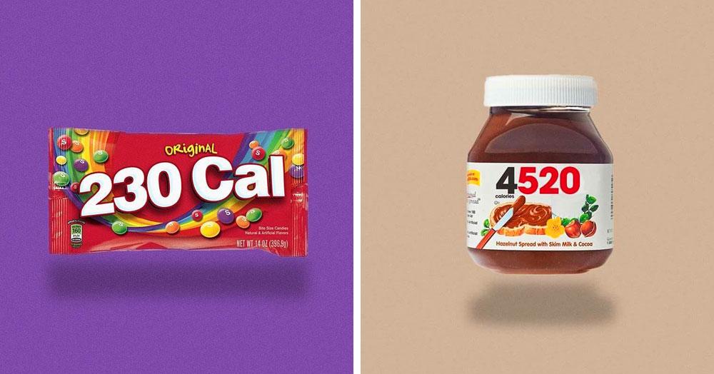 Дизайнеры заменили логотипы популярных продуктов на их истинную калорийность, и это заставляет задуматься