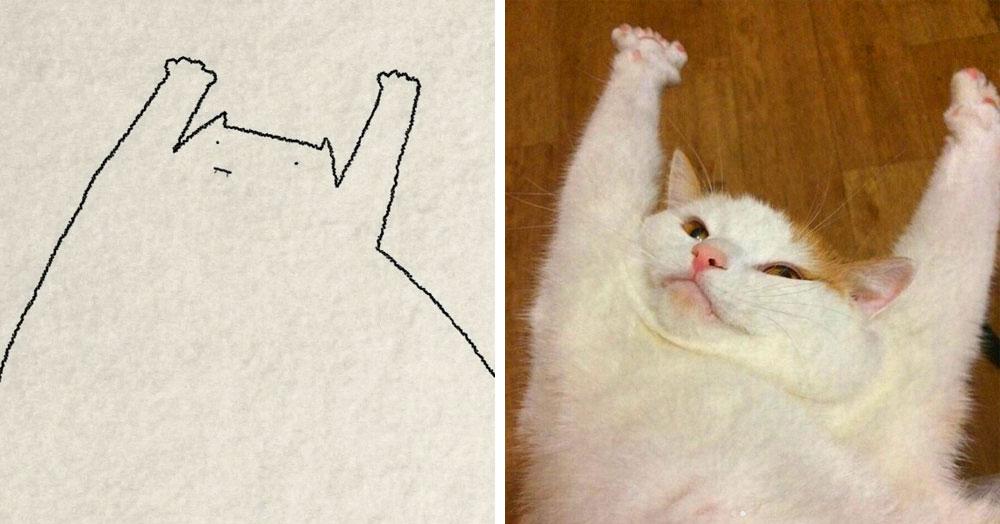 Художник рисует минималистичные рисунки по фото котеек интернет-пользователей. Все модели довольны результатом, но это не точно