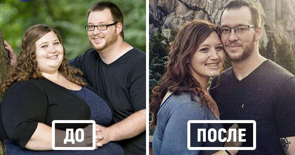 Пара всего за 12 месяцев похудела на 175 кг, и теперь они воссоздают свои старые фотографии, чтобы показать невероятную разницу