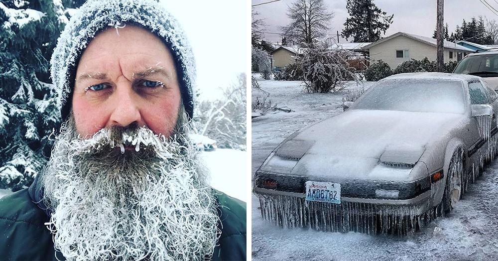 В США и Канаде в начале года ударили небывалые морозы, и люди выкладывают в интернет поразительные снимки, на которые даже смотреть холодно