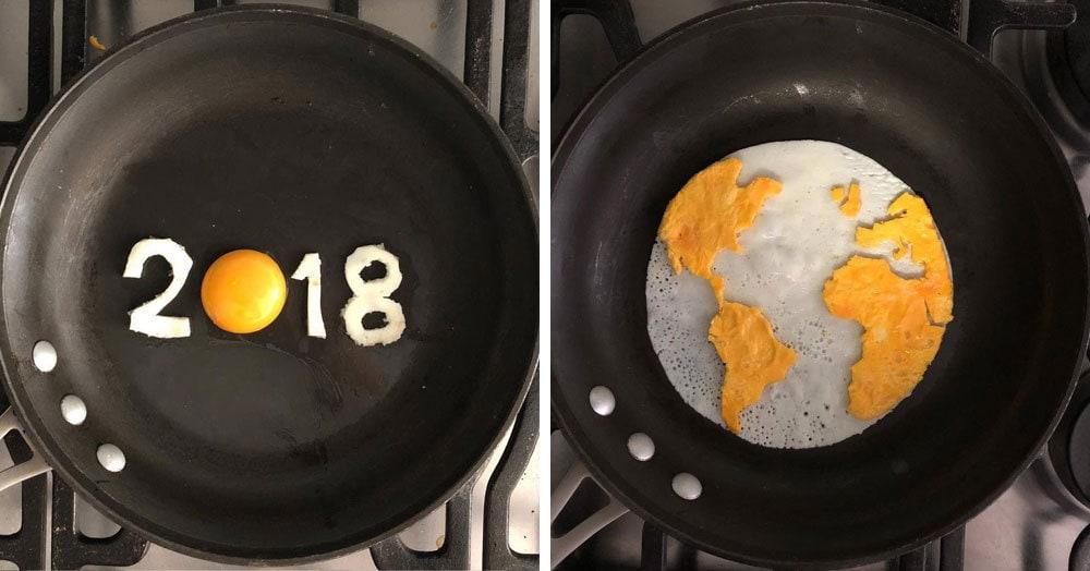Художник решил, что просто готовить яичницу по утрам — это слишком скучно и творчески подошёл к этому процессу