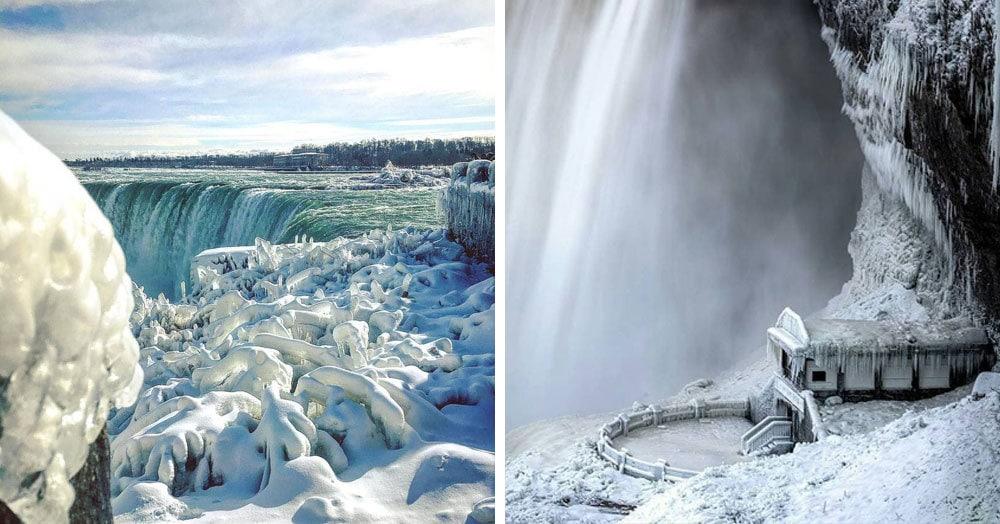 Туристы поделились необычными снимками Ниагарского водопада, который замёрз из-за аномальных морозов