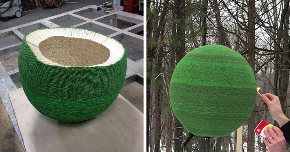 Мужчина целый год собирал огромный шар из 42 тысяч спичек, чтобы в итоге его сжечь. Но зрелище однозначно того стоило
