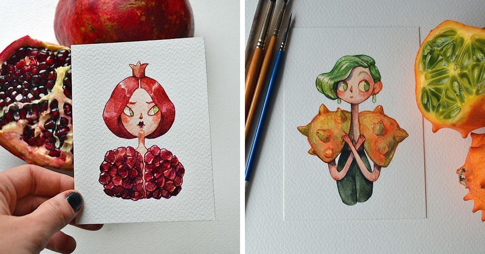 Лондонская художница представила, как выглядели бы фрукты и овощи, будь они людьми. Теперь можно узнать не только их вкус, но и характер