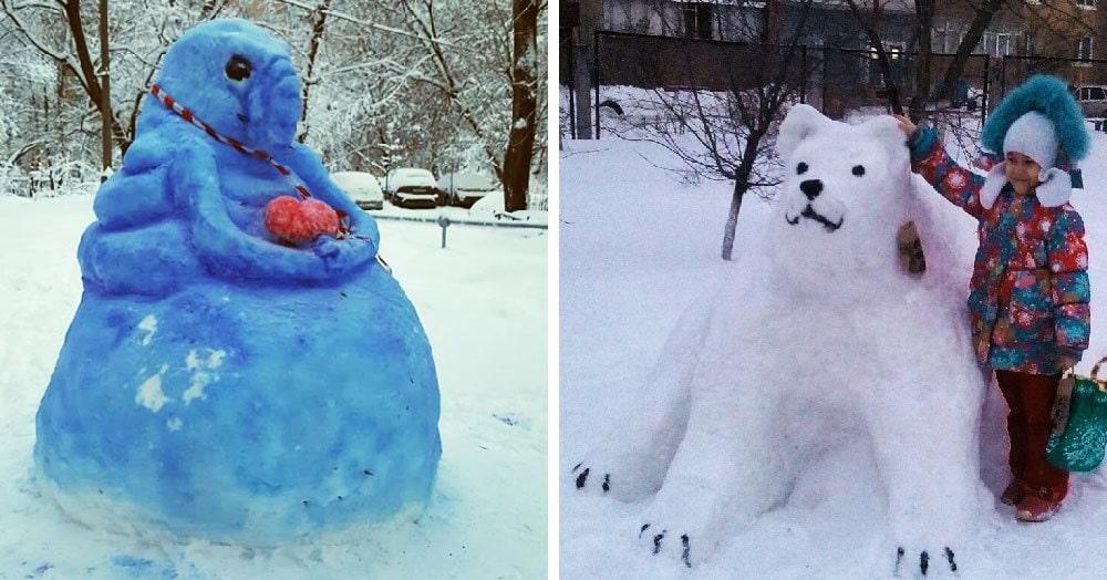 Пользователи интернета поделились фотографиями своих снеговиков, сделанных во время аномального снегопада. Многие из них тоже получились аномальными