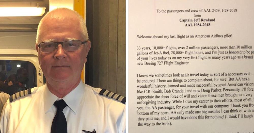 Пилот написал пассажирам о том, что это его последний полёт. Тут стоило бы испугаться, но нет