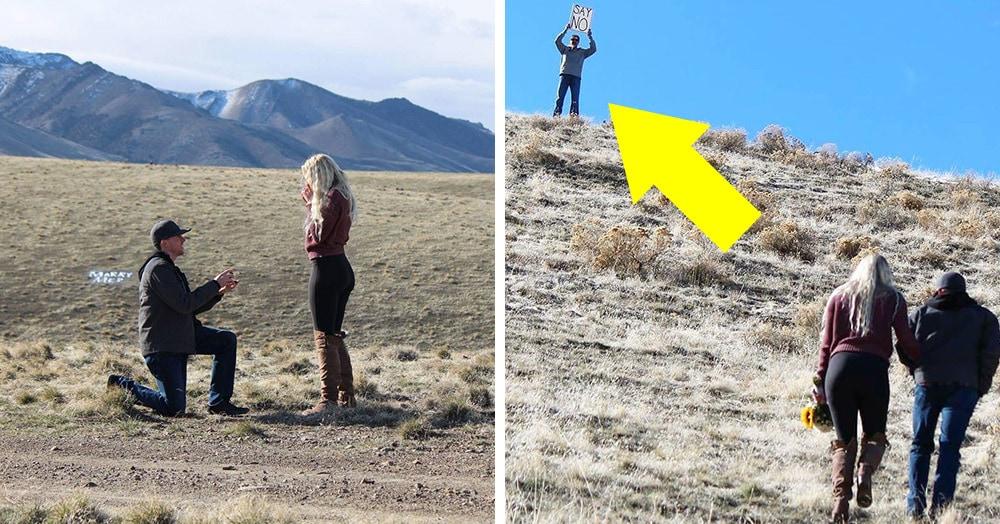 Парень решил сделать предложение девушке посреди пустыни, и всё бы хорошо, но тут на холме возник её отец