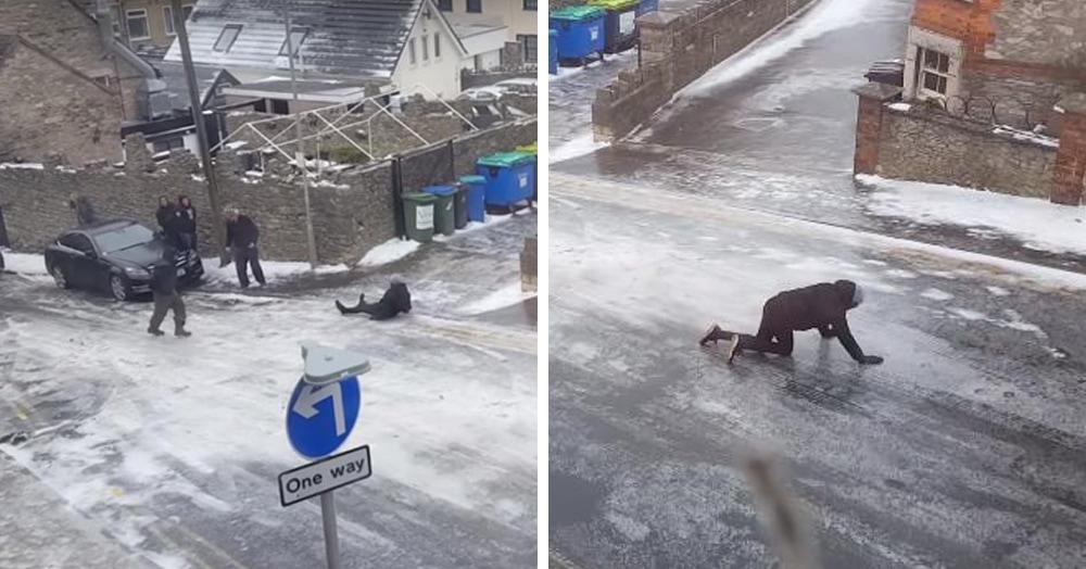 В сети появилось видео, на котором жители британского города пытаются пройти по заледеневшей улице. Вам смешно, а им не очень