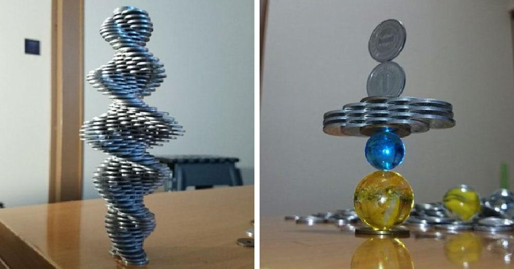 Японец бросил вызов гравитации, и, судя по его невероятным башенкам из монет, он её уделал