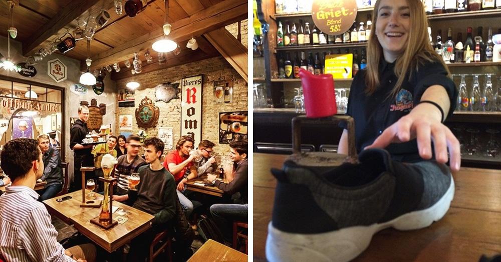 В этом бельгийском баре каждого посетителя просят сдать один ботинок. И благодаря этой хитрости заведению удаётся неплохо так сэкономить