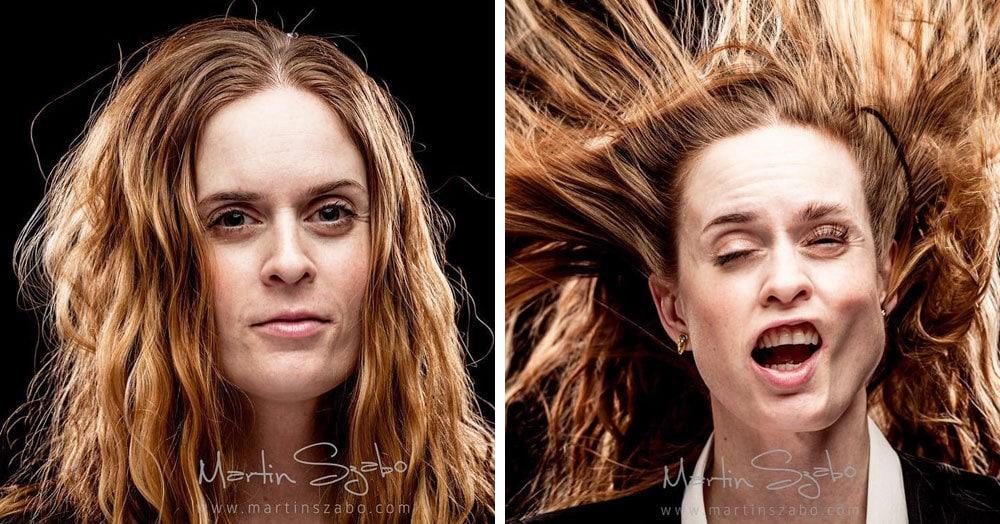 Фотограф снимает портреты людей, потом включает воздуходувку и снимает еще раз. Это странно, но всем весело