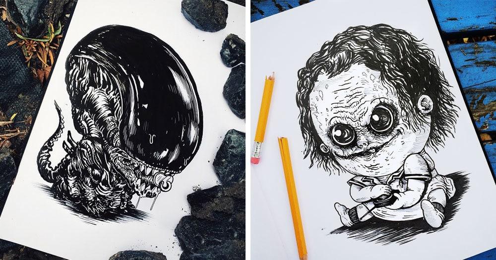Этот художник нарисовал известных киношных злодеев, когда те ещё были в младенчестве. Жутко милые ребята получились