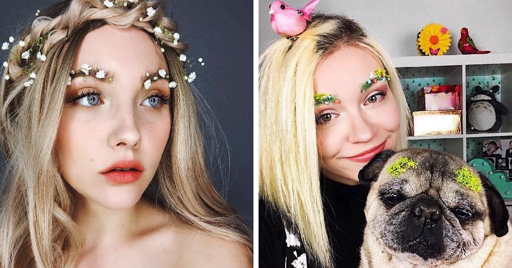 В сети появился новый бьюти-тренд: весенние брови, украшенные цветочками. Выглядит странно, но свежо
