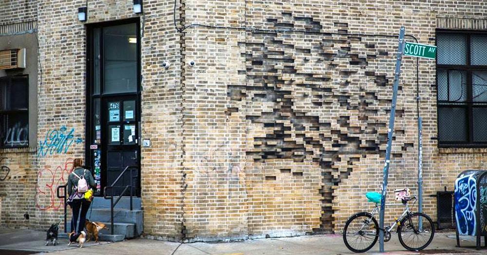 Художник создал оптическую иллюзию на стене дома, не вытащив при этом ни одного кирпича