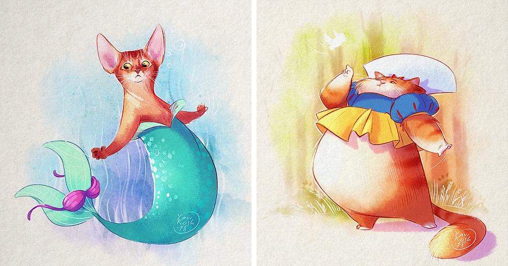 Художница представила, как выглядели бы диснеевские принцессы, будь они кошками
