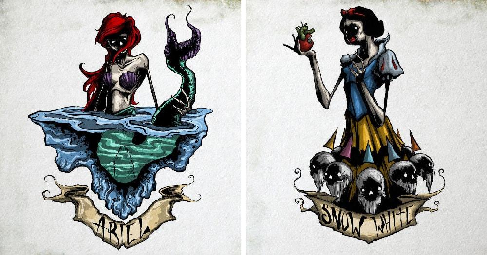 Художник разрушил светлый образ диснеевских принцесс, представив их жуткими монстрами