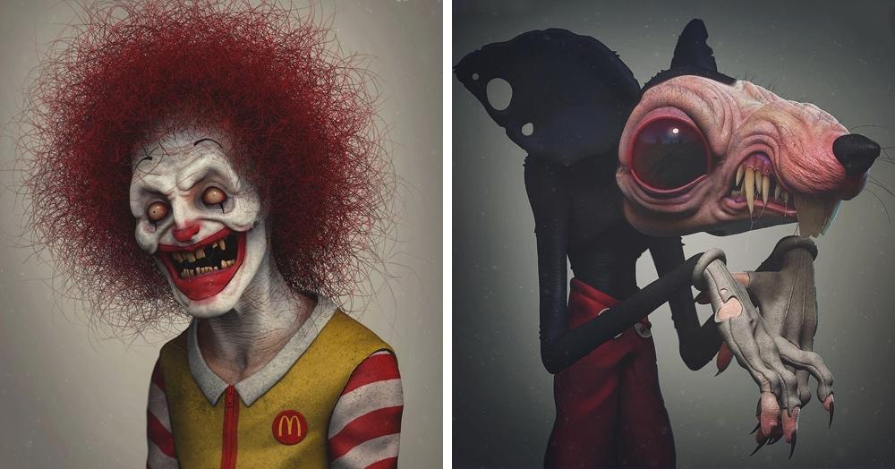 Художник превратил популярных персонажей в чудовищ, которым самое место в ночных кошмарах