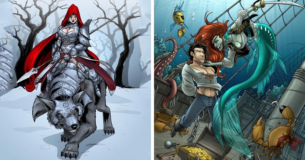 Художник создаёт свои версии известных сказок, и теперь они выглядят как настоящие боевики