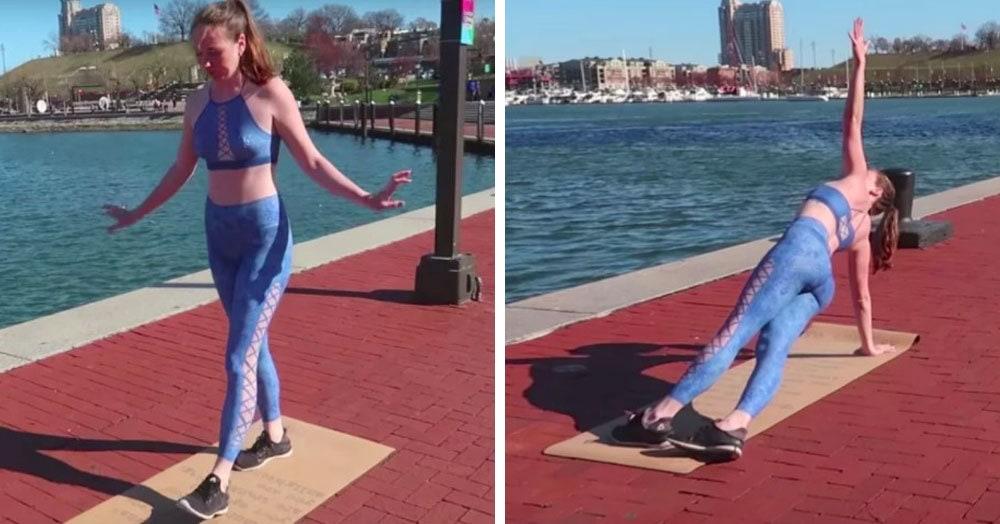 Девушка занялась йогой на улице, но удивление окружающих вызвали отнюдь не её физические возможности
