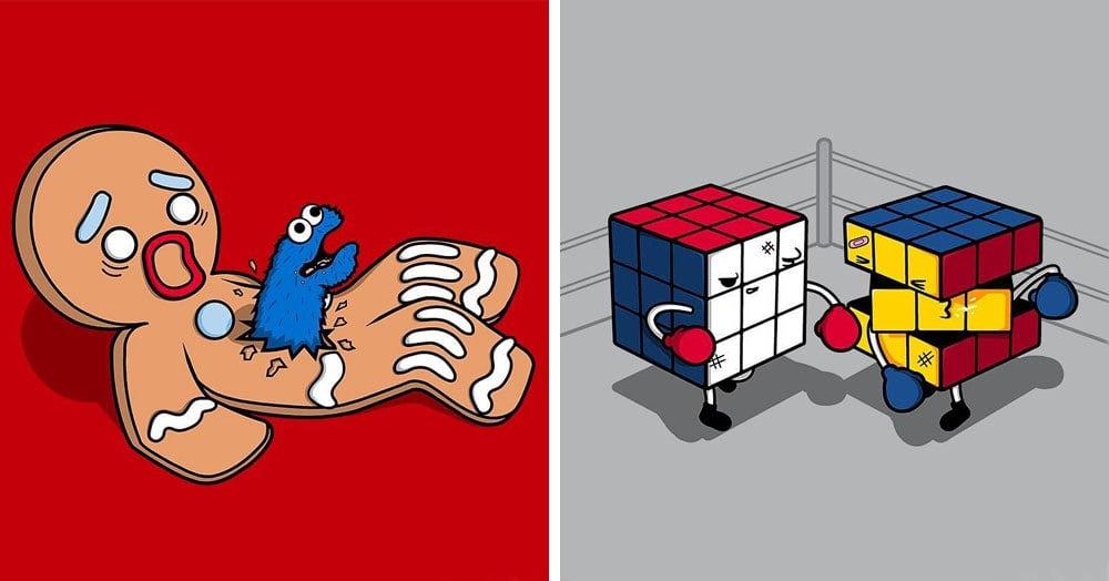 Художник рисует яркие комиксы, забавно совмещая элементы современной культуры