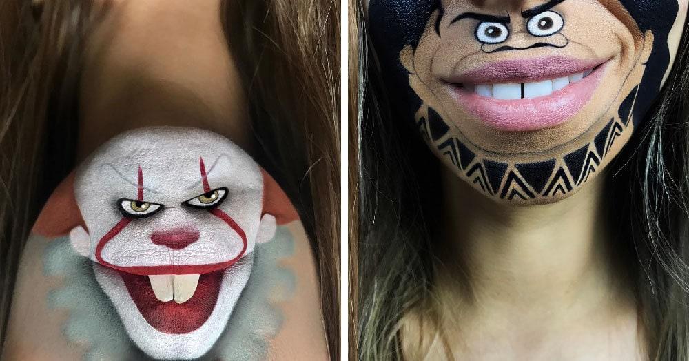Эта девушка с помощью макияжа превращает свои губы в мультяшных героев. Получается очень забавно